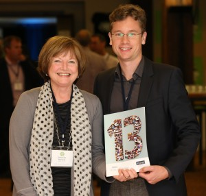 Alexander at PRConf14 with Deborah Rolland, Senior Lecturer, Unitec.