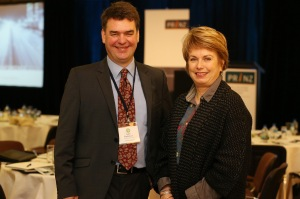 Professor John Parkinson, with Jocelyn Williams of UNITEC.