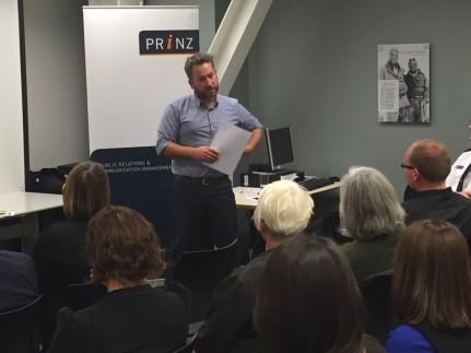 Matt Dagger from Kaibosh, presenting at the Wellington event.
