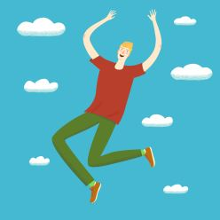Happy boy jumping up in the skies. Feelings of lightness, happiness, carefree, joy. Cartoon illustration for your design.