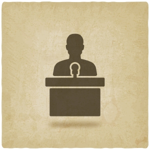 man on podium with microphone old background - vector illustration. eps 10