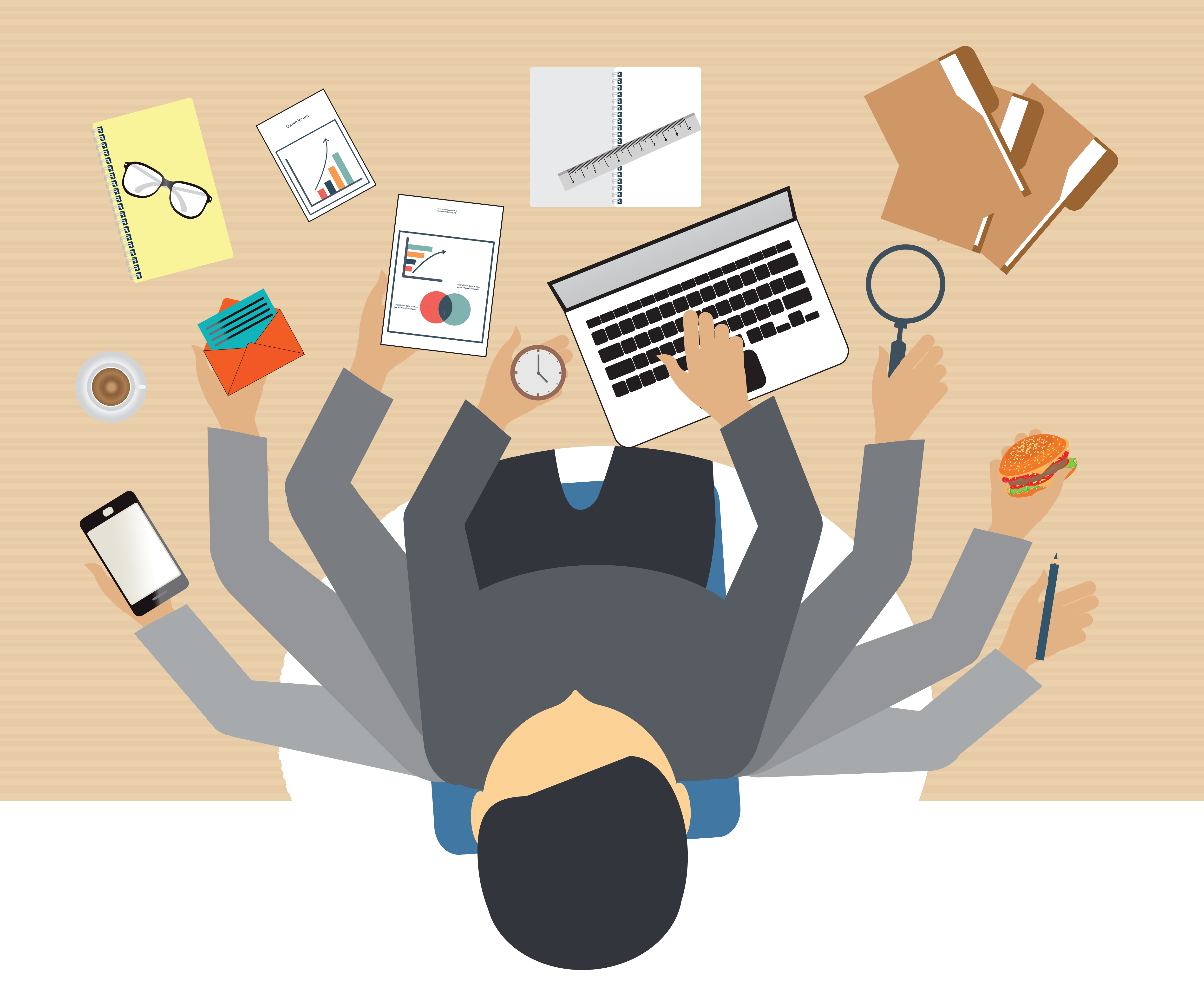 home office multitasking. Busy Business People Working Hard On His Desk In Office With A Lot Of Paper Work Home Multitasking